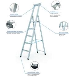 Einseitig begehbare Stehleitern –  bequemer Aufstieg und Stand.