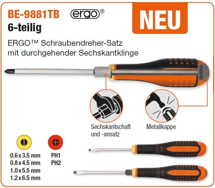 ERGO™-Schraubendreher-Satz mit durchgehender Sechskantklinge, BE-9881TB